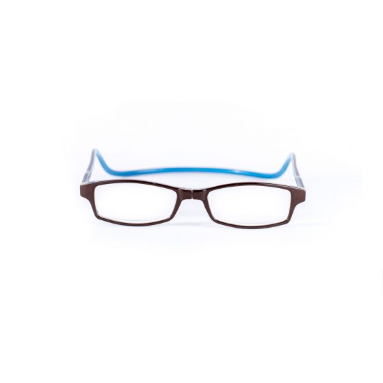 Easy Reader magneetleesbril leesbril met magneetsluiting square bruin/blauw