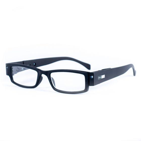 LED leesbril mat zwart. Leesbril met LED-verlichting.