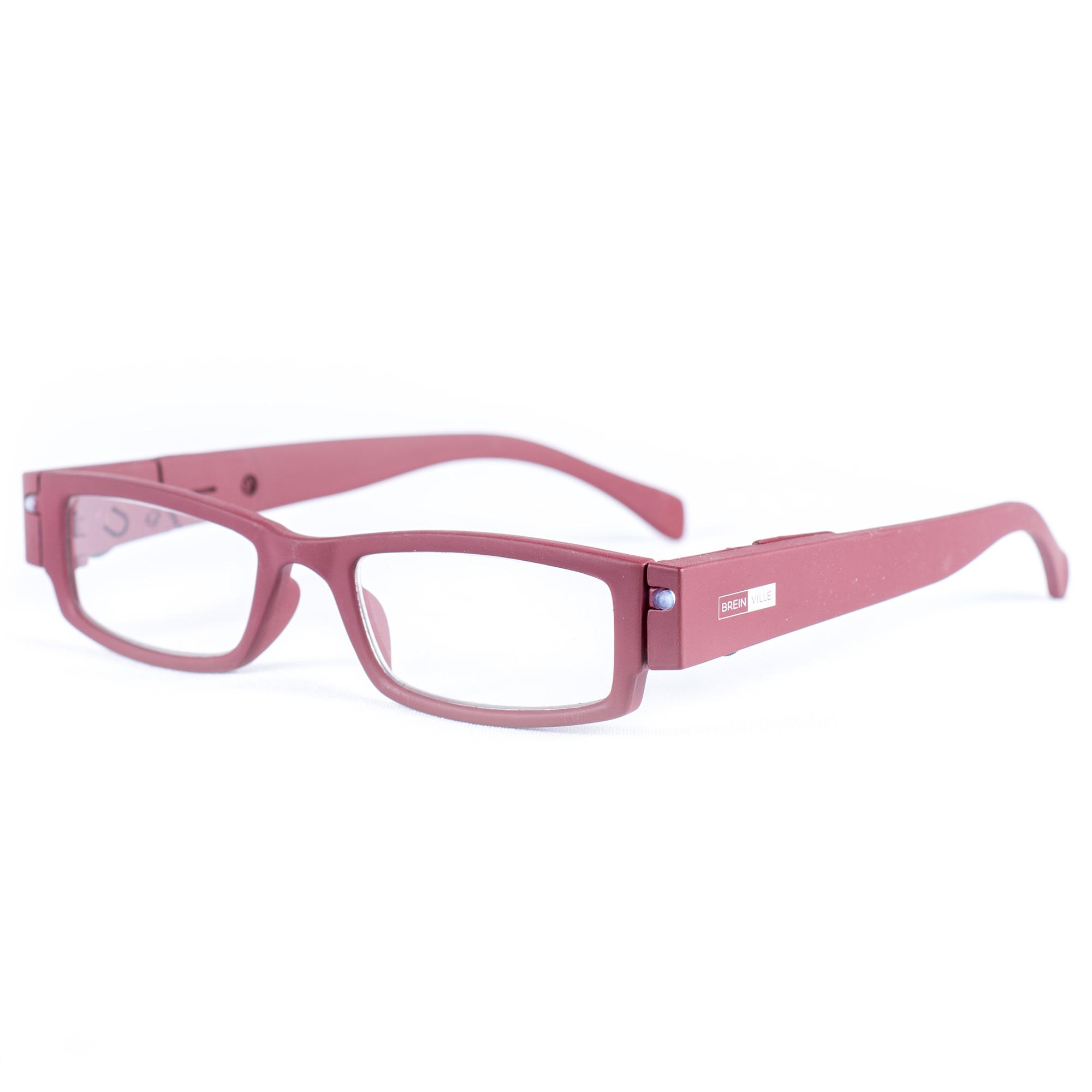 LED leesbril rood. Leesbril met LED-verlichting in mat rood.
