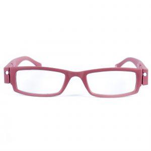 LED leesbril mat rood. Leesbril met LED-verlichting.